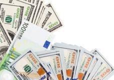 Euro e dollaro su un fondo bianco Immagini Stock