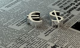 Euro e dollaro sulla carta Immagini Stock