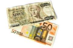Euro e Drachmen Foto de Stock