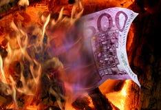 Euro e fuoco Fotografia Stock Libera da Diritti