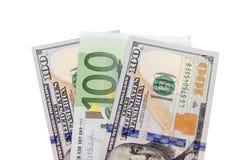 Euro e notas de dólar Fotografia de Stock