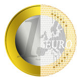 Euro e-payment. Euro coin getting converted into digital payment stock illustration