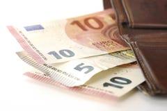 Euro e portafoglio Immagini Stock Libere da Diritti