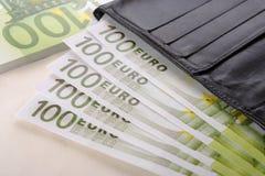 Euro e portafoglio Immagine Stock