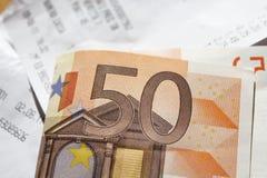Euro e recibos Imagens de Stock