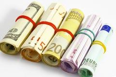 Euro e soldi americani Fotografia Stock