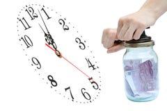 Euro e tempo Imagens de Stock