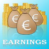 Euro Earnings Shows Salary Income 3d Illustration. Euro Earnings Showing Salary Income 3d Illustration Stock Photography