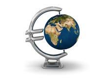 Euro Earth globe. Earth globe with Euro designed rack Stock Photography
