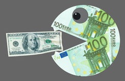 Euro eats dollar. Monster euro wants to eat dollar Royalty Free Stock Photo