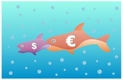 Euro eats dollar. Parody of bigger fish eat smallest fish with euro and dollar Royalty Free Stock Photography