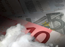 Euro economy heating up. Smoke effect overlaid onto Euro bank notes. Concept: heated economy