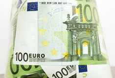 Euro in een transparant pakket Royalty-vrije Stock Foto