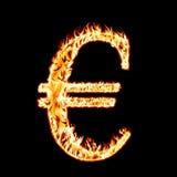 Euro in einem Feuer Stockfoto