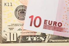 Euro em dólares Imagens de Stock Royalty Free