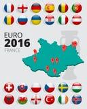 Euro 2016 em França Bandeiras dos países europeus que participam ao competiam final do futebol 2016 do Euro ilustração do vetor
