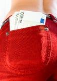 Euro em um bolso Foto de Stock
