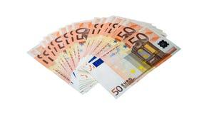 Euro em um fundo branco Fotografia de Stock Royalty Free