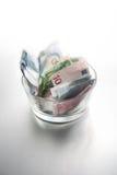 Euro em uma bacia fotografia de stock royalty free