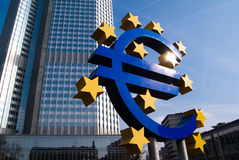 EURO embleem in Frankfurt-am-Main stock afbeelding