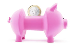 Euro in emptied piggy bank Stock Photo