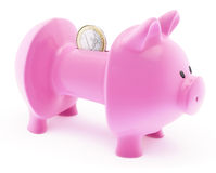 Euro in emptied piggy bank. Side view of Euro coin on back of purple piggy bank with missing sides and money. European financial crisis concept; isolated on Stock Photography