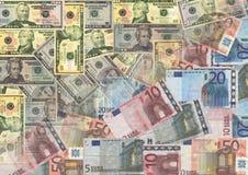 Euro en Amerikaanse dollars Stock Foto