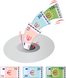 Euro en bas du drain Photographie stock