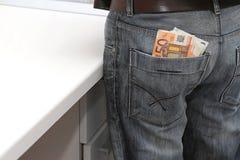 Euro en bolsillo trasero Fotografía de archivo libre de regalías