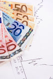 Euro en diagram Royalty-vrije Stock Foto's