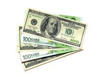Euro en dollar. royalty-vrije stock afbeelding