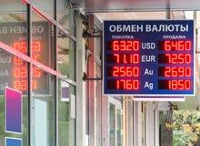 Euro en dollar aan Russische roebelwisselkoers royalty-vrije stock foto's