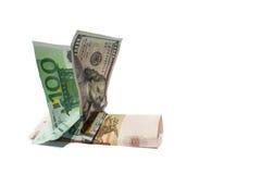Euro en dollar die op Russische muntroebel berijden Stock Afbeelding