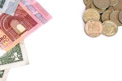 Euro en Dollar tegen Russische Roebelmuntstukken op witte achtergrond Royalty-vrije Stock Fotografie