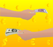 Euro en dollars Royalty-vrije Stock Afbeelding