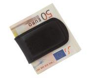 Euro en el clip del dinero Foto de archivo libre de regalías