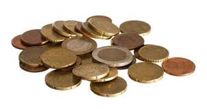 Euro en euro centmuntstukken Stock Foto