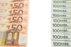 100 euro en 50 geïsoleerde euro Royalty-vrije Stock Afbeeldingen