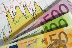 Euro en grafiek Royalty-vrije Stock Foto's