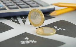 Euro en grafiek royalty-vrije stock afbeeldingen