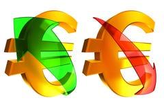 Euro en hausse et en baisse Photo stock