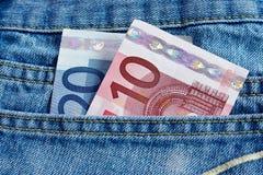 Euro en jeans Stock Foto