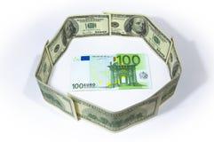 Euro en le dollar Images stock