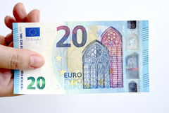Euro 20 en main Image stock