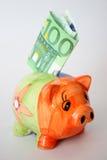 Euro en piggy honderd stock afbeeldingen