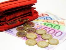Euro en portefeuille Royalty-vrije Stock Foto's