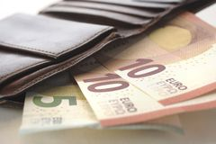 Euro en portefeuille Royalty-vrije Stock Fotografie