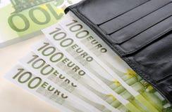Euro en portefeuille Royalty-vrije Stock Foto