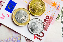 Euro en roebelmuntstukken Royalty-vrije Stock Foto
