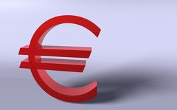 Euro en rojo Foto de archivo libre de regalías